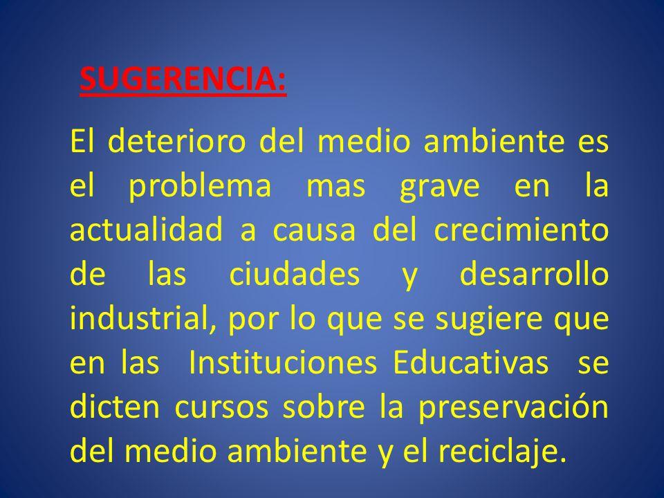 SUGERENCIA: El deterioro del medio ambiente es el problema mas grave en la actualidad a causa del crecimiento de las ciudades y desarrollo industrial,