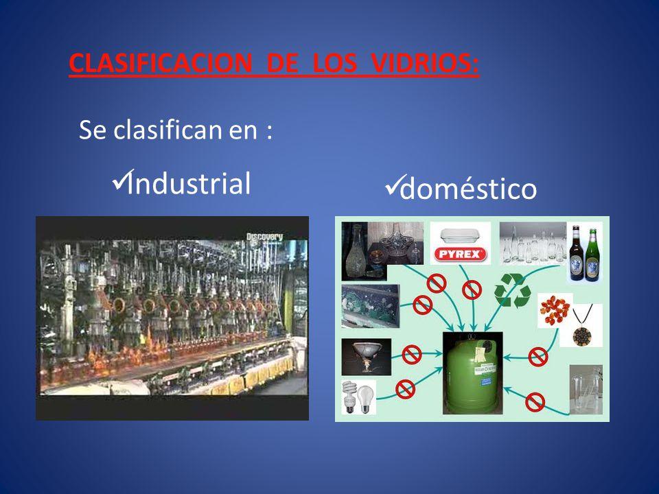 Vidrio Industrial.- Utilizado en almacenamiento de productos químicos, biológicos, ventanas, bombillas, cristales blindados, etc.