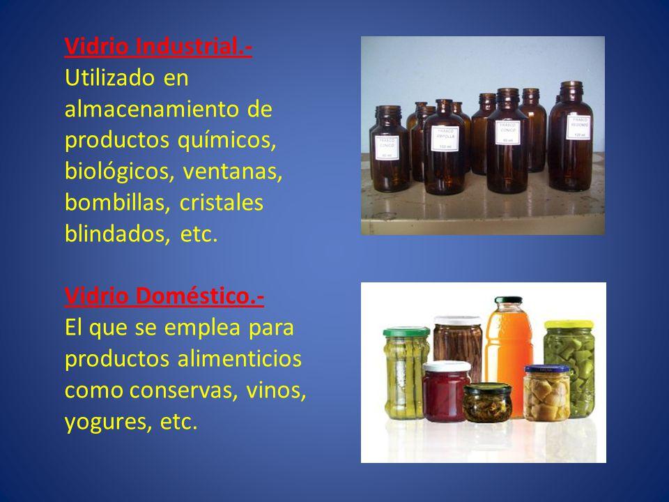 Vidrio Industrial.- Utilizado en almacenamiento de productos químicos, biológicos, ventanas, bombillas, cristales blindados, etc. Vidrio Doméstico.- E