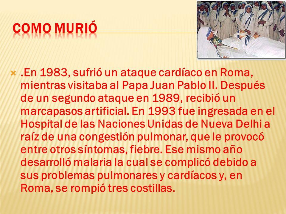 .En 1983, sufrió un ataque cardíaco en Roma, mientras visitaba al Papa Juan Pablo II.