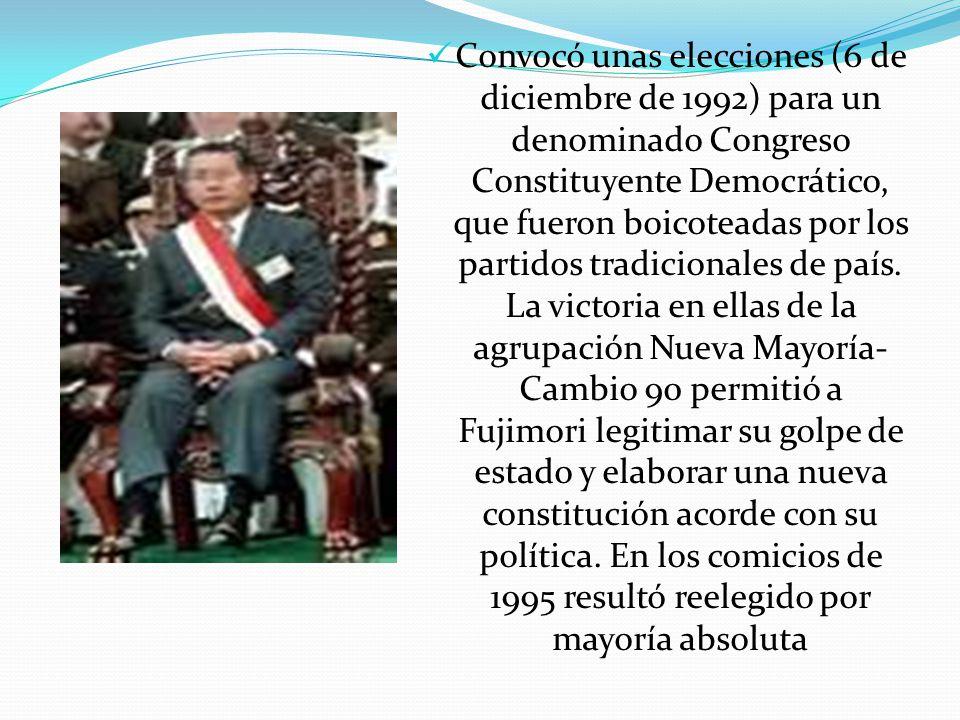 Convocó unas elecciones (6 de diciembre de 1992) para un denominado Congreso Constituyente Democrático, que fueron boicoteadas por los partidos tradicionales de país.