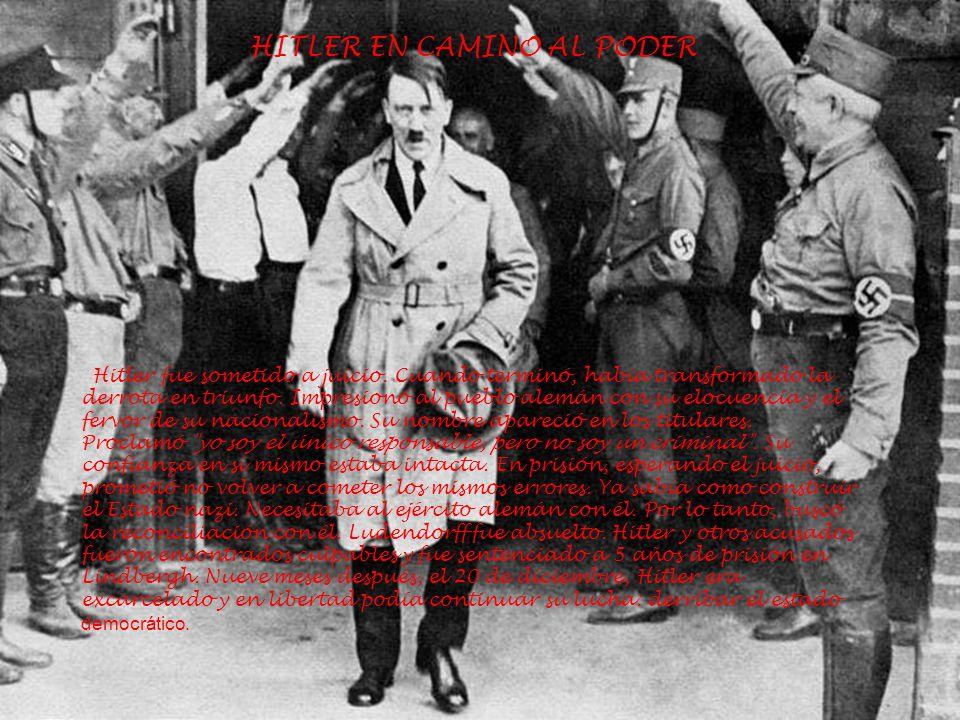HITLER EN CAMINO AL PODER Hitler fue sometido a juicio. Cuando terminó, había transformado la derrota en triunfo. Impresionó al pueblo alemán con su e