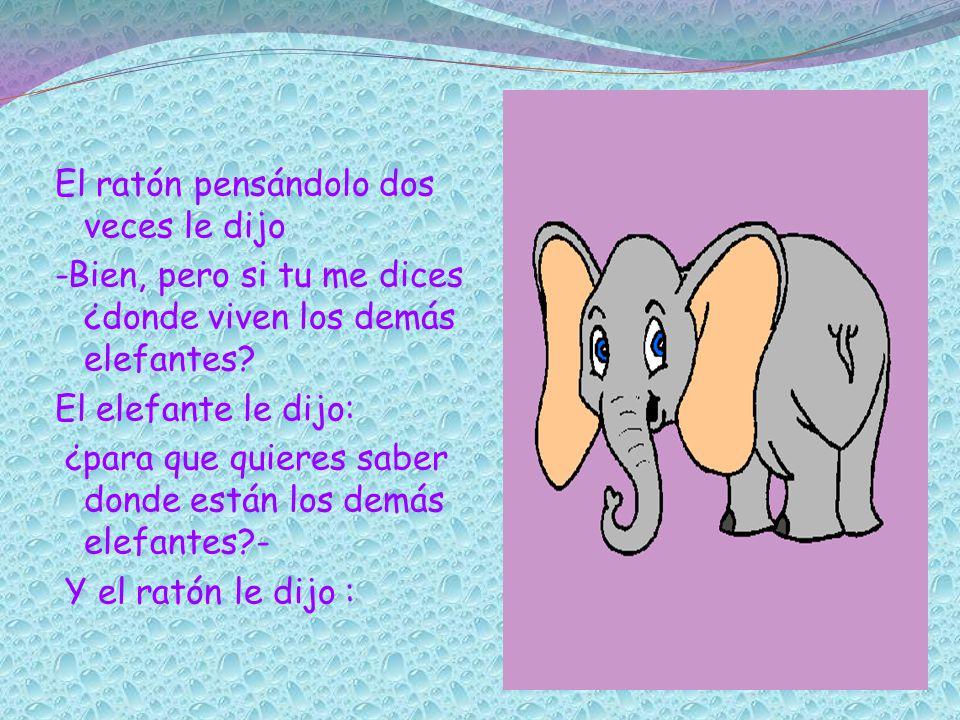 El ratón pensándolo dos veces le dijo -Bien, pero si tu me dices ¿donde viven los demás elefantes? El elefante le dijo: ¿para que quieres saber donde
