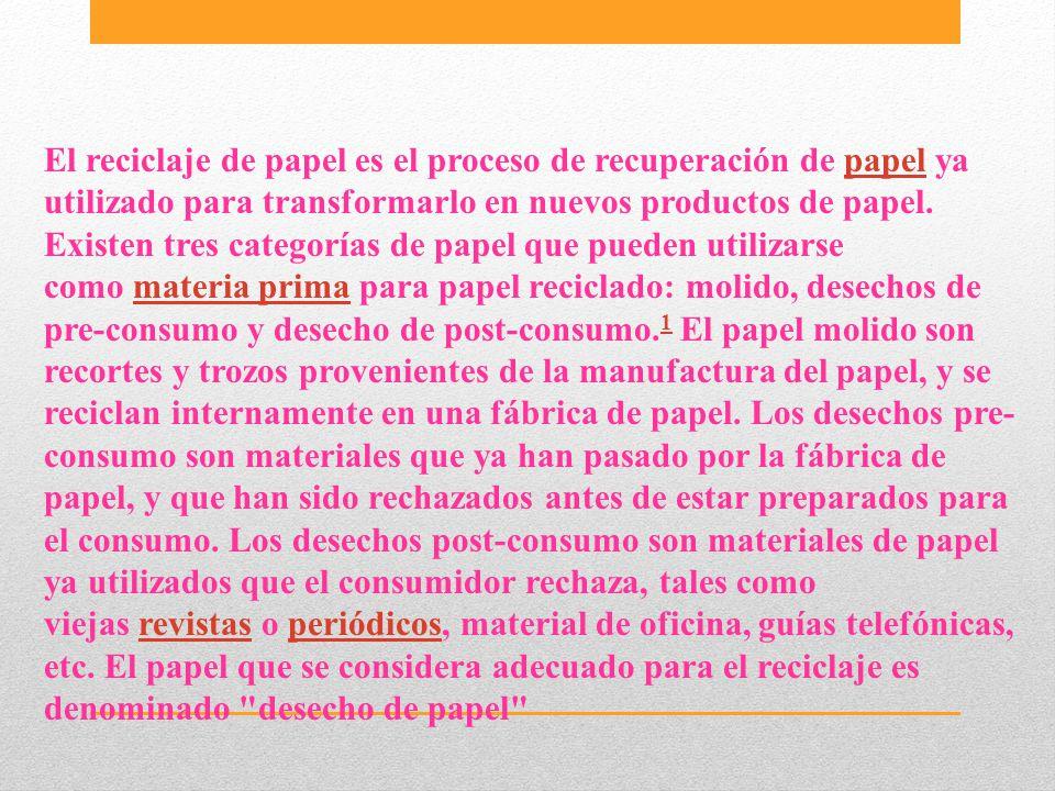 El reciclaje de papel es el proceso de recuperación de papel ya utilizado para transformarlo en nuevos productos de papel. Existen tres categorías de