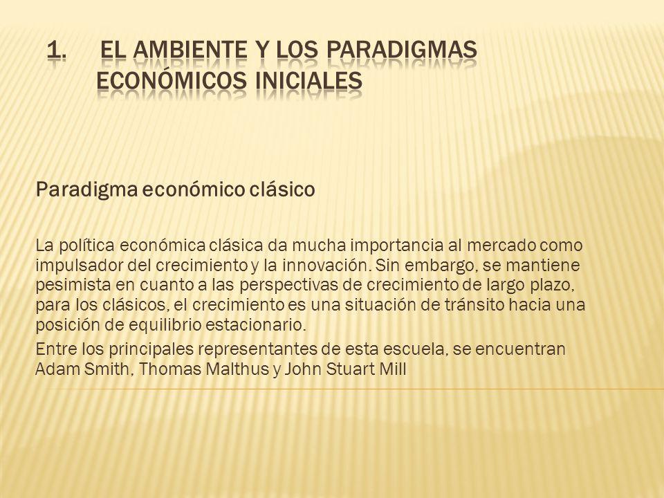 PARADIGMA ECONÓMICO CLÁSICO Concibió el progreso técnico como una dinámica permanente entre el cambio tecnológico y los rendimientos decrecientes en la agricultura.