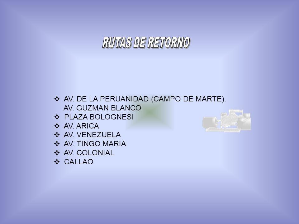 AV. DE LA PERUANIDAD (CAMPO DE MARTE). AV. GUZMAN BLANCO PLAZA BOLOGNESI AV. ARICA AV. VENEZUELA AV. TINGO MARIA AV. COLONIAL CALLAO