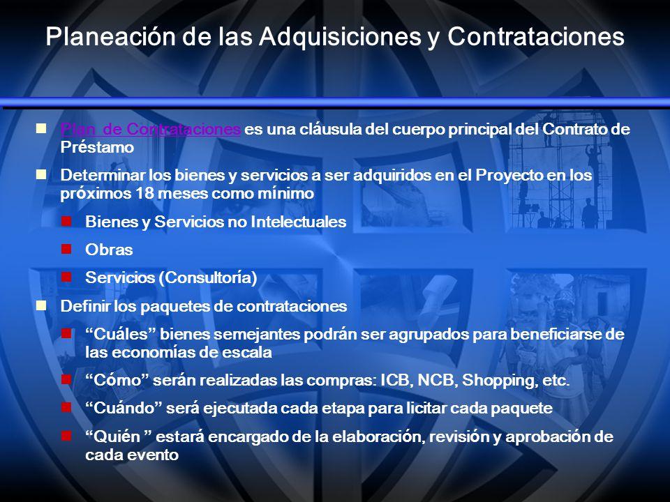 Planeación de las Adquisiciones y Contrataciones Plan de Contrataciones es una cl á usula del cuerpo principal del Contrato de Pr é stamo Plan de Cont