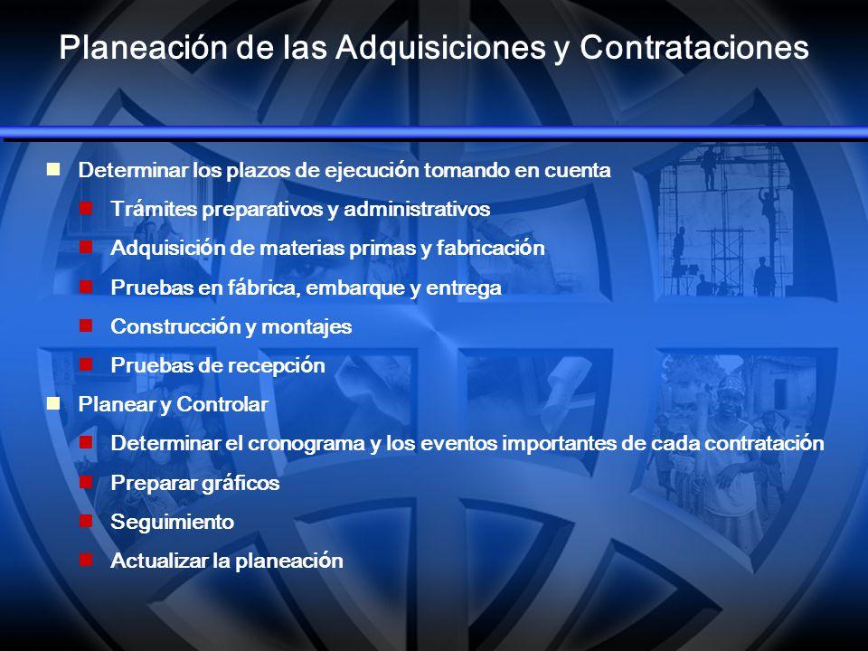 Planeación de las Adquisiciones y Contrataciones Determinar los plazos de ejecuci ó n tomando en cuenta Tr á mites preparativos y administrativos Adqu