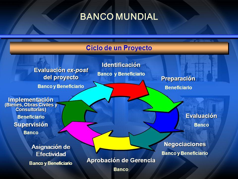 BANCO MUNDIAL Ciclo de un Proyecto Evaluación ex-post del proyecto Banco y Beneficiario Implementación (Bienes, Obras Civiles y Consultorías) Benefici