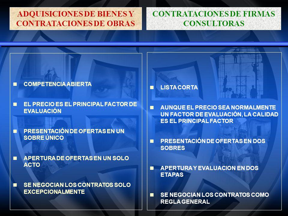 APLICABILIDAD DE LAS NORMAS Los procedimientos descritos en las Normas se aplican a toda contrataci ó n de bienes y obras financiadas total o parcialmente con fondos del pr é stamo.