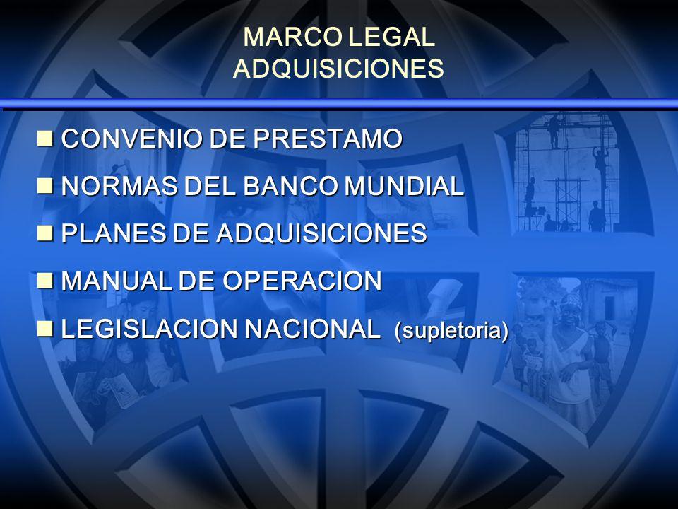 MARCO LEGAL ADQUISICIONES CONVENIO DE PRESTAMO CONVENIO DE PRESTAMO NORMAS DEL BANCO MUNDIAL NORMAS DEL BANCO MUNDIAL PLANES DE ADQUISICIONES PLANES D