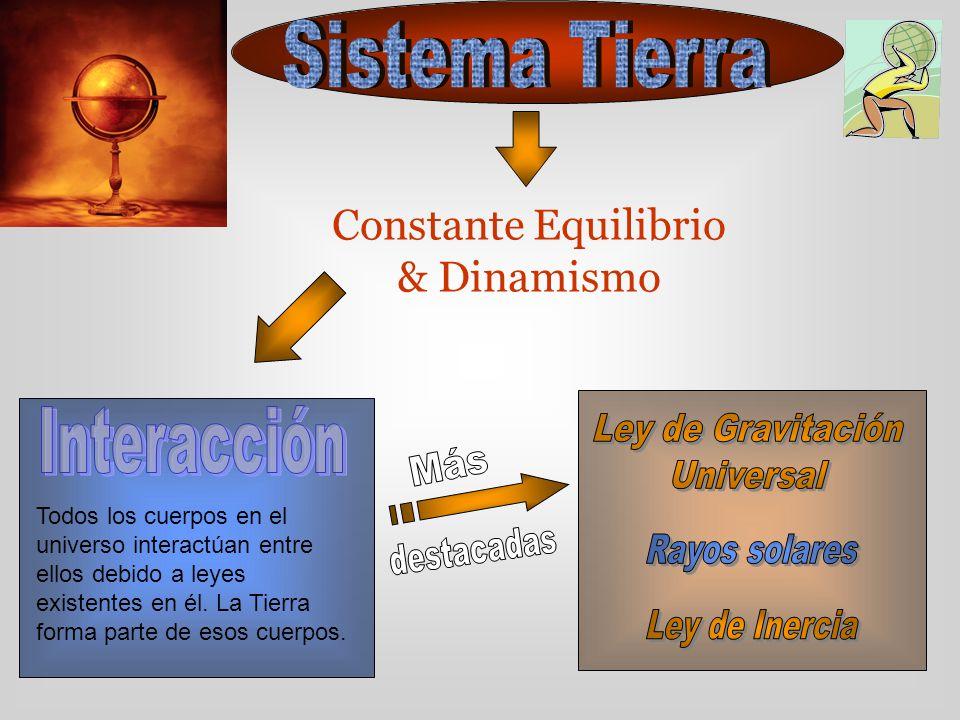 Constante Equilibrio & Dinamismo Todos los cuerpos en el universo interactúan entre ellos debido a leyes existentes en él. La Tierra forma parte de es
