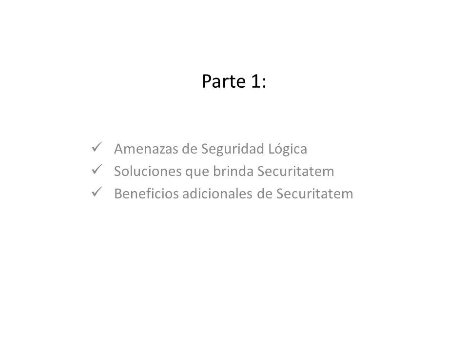 Parte 1: Amenazas de Seguridad Lógica Soluciones que brinda Securitatem Beneficios adicionales de Securitatem