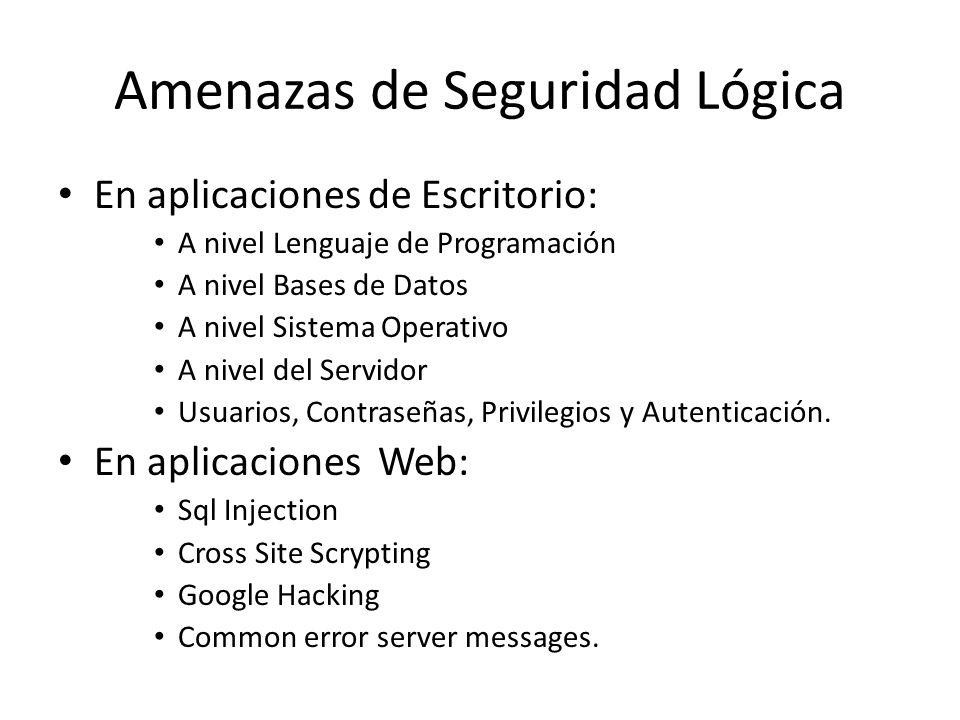 Amenazas de Seguridad Lógica En aplicaciones de Escritorio: A nivel Lenguaje de Programación A nivel Bases de Datos A nivel Sistema Operativo A nivel