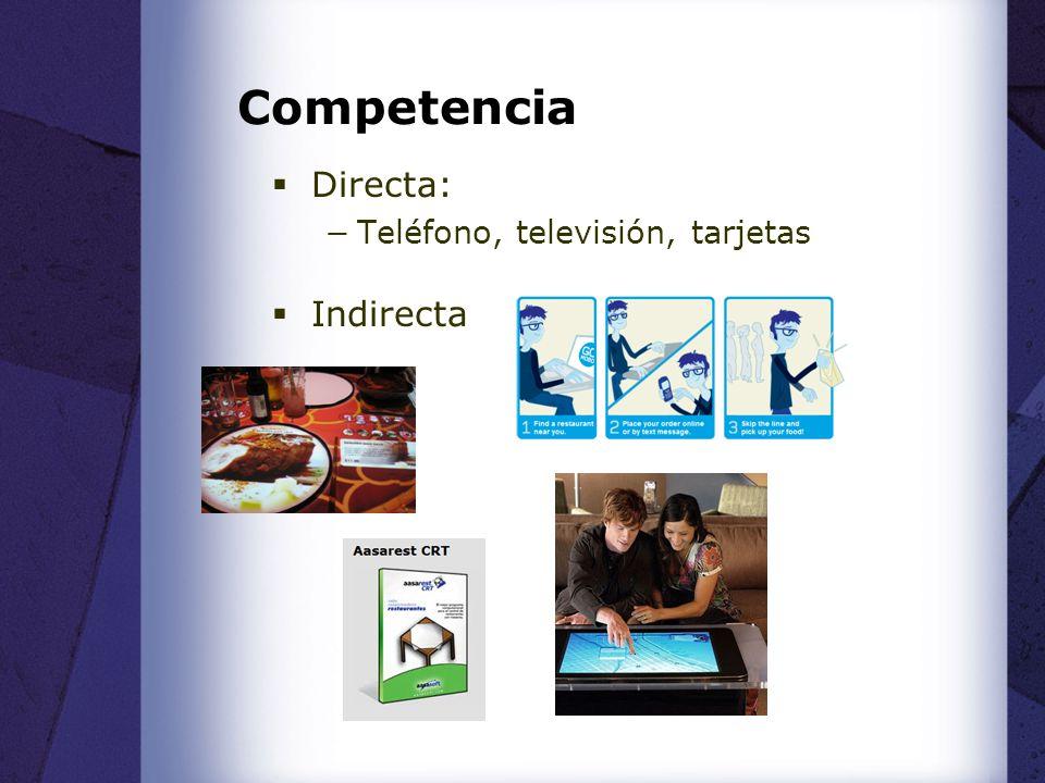 Competencia Directa: Teléfono, televisión, tarjetas Indirecta