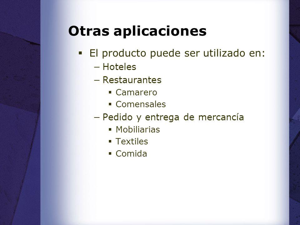 Otras aplicaciones El producto puede ser utilizado en: Hoteles Restaurantes Camarero Comensales Pedido y entrega de mercancía Mobiliarias Textiles Comida