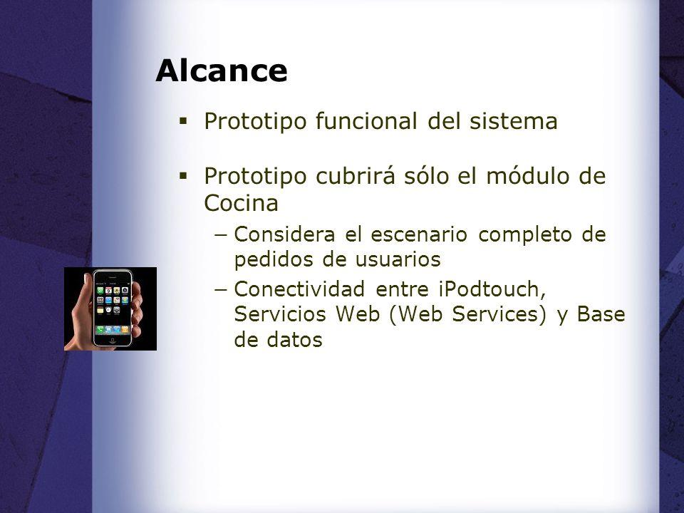 Alcance Prototipo funcional del sistema Prototipo cubrirá sólo el módulo de Cocina Considera el escenario completo de pedidos de usuarios Conectividad entre iPodtouch, Servicios Web (Web Services) y Base de datos