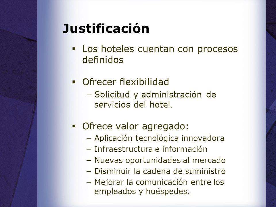 Justificación Los hoteles cuentan con procesos definidos Ofrecer flexibilidad Solicitud y administración de servicios del hotel.