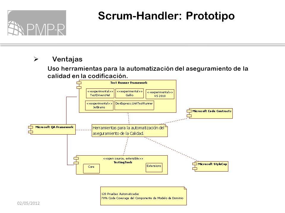 Ventajas Uso herramientas para la automatización del aseguramiento de la calidad en la codificación. Scrum-Handler: Prototipo 02/05/2012