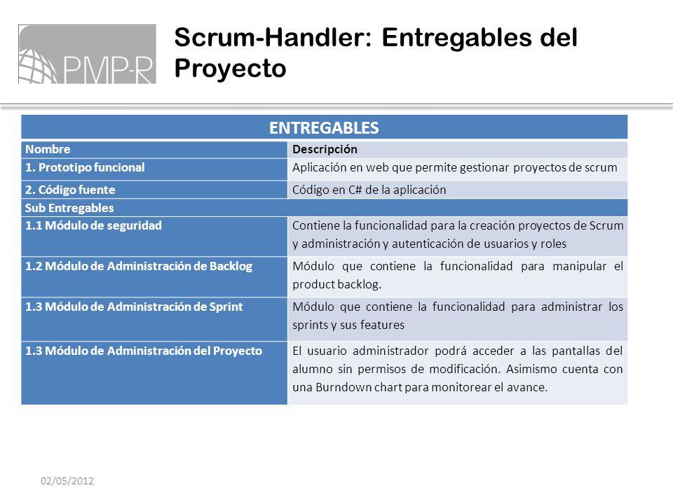 Scrum-Handler: Entregables del Proyecto 02/05/2012 ENTREGABLES NombreDescripción 1. Prototipo funcionalAplicación en web que permite gestionar proyect