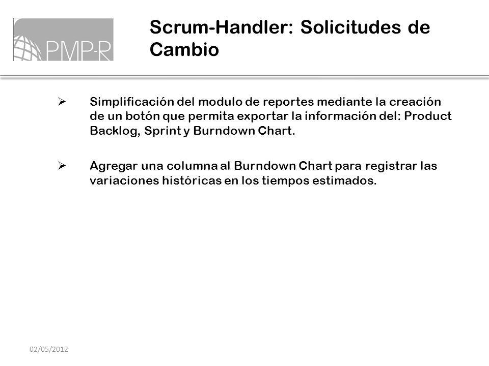 Simplificación del modulo de reportes mediante la creación de un botón que permita exportar la información del: Product Backlog, Sprint y Burndown Cha