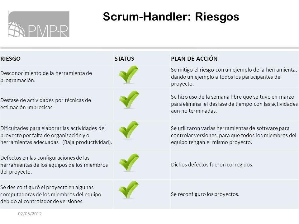 Scrum-Handler: Riesgos 02/05/2012 RIESGOSTATUSPLAN DE ACCIÓN Desconocimiento de la herramienta de programación. Se mitigo el riesgo con un ejemplo de