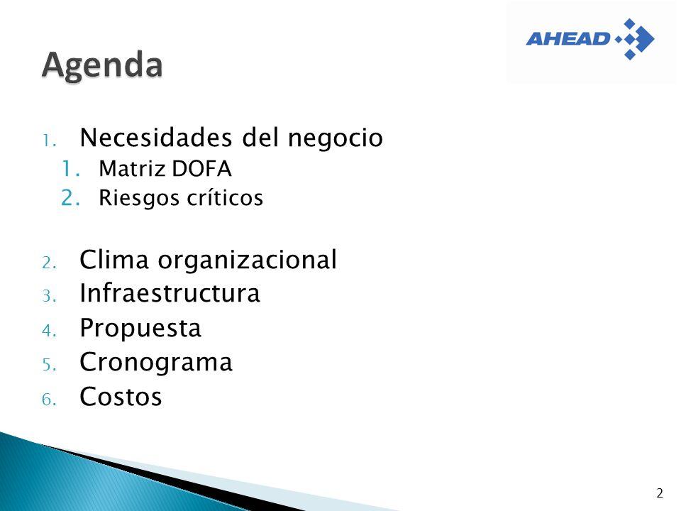 1. Necesidades del negocio 1.Matriz DOFA 2.Riesgos críticos 2. Clima organizacional 3. Infraestructura 4. Propuesta 5. Cronograma 6. Costos 2