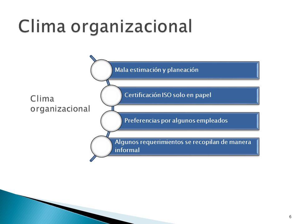6 Mala estimación y planeación Certificación ISO solo en papel Preferencias por algunos empleados Algunos requerimientos se recopilan de manera inform