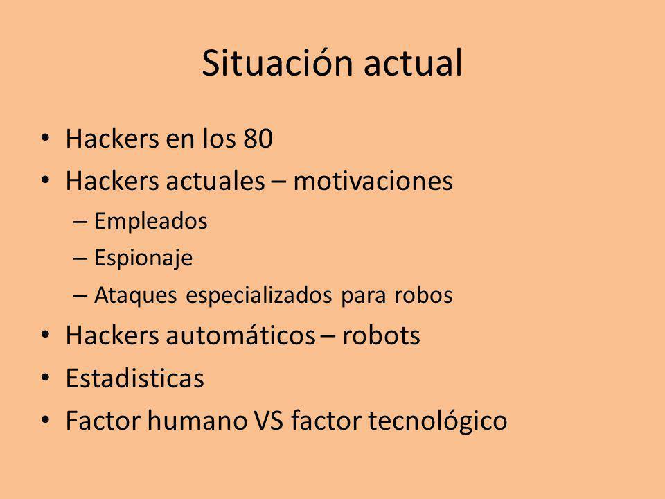 Situación actual Hackers en los 80 Hackers actuales – motivaciones – Empleados – Espionaje – Ataques especializados para robos Hackers automáticos – robots Estadisticas Factor humano VS factor tecnológico