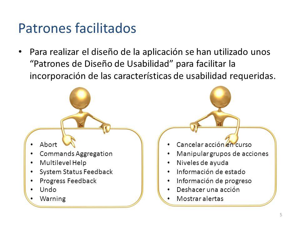 Patrones facilitados Para realizar el diseño de la aplicación se han utilizado unos Patrones de Diseño de Usabilidad para facilitar la incorporación de las características de usabilidad requeridas.