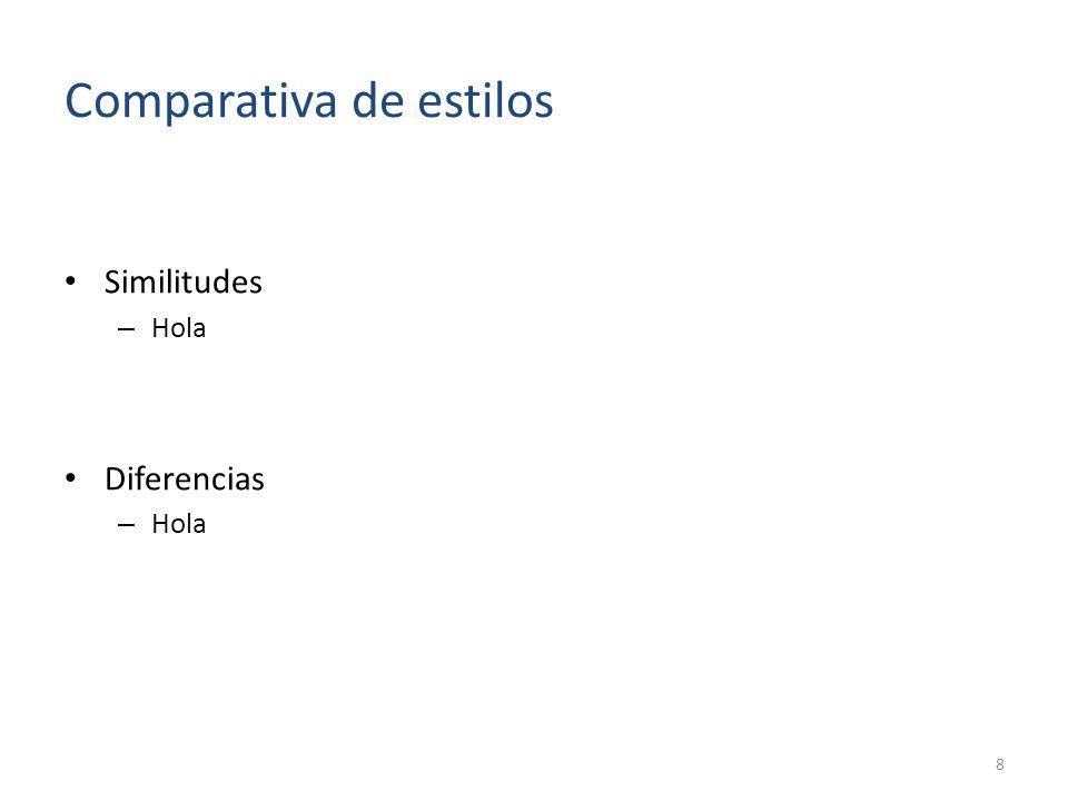 Comparativa de restricciones Similitudes – Hola Diferencias – Hola 9