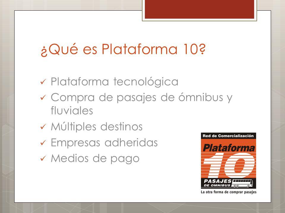 ¿Qué es Plataforma 10? Plataforma tecnológica Compra de pasajes de ómnibus y fluviales Múltiples destinos Empresas adheridas Medios de pago