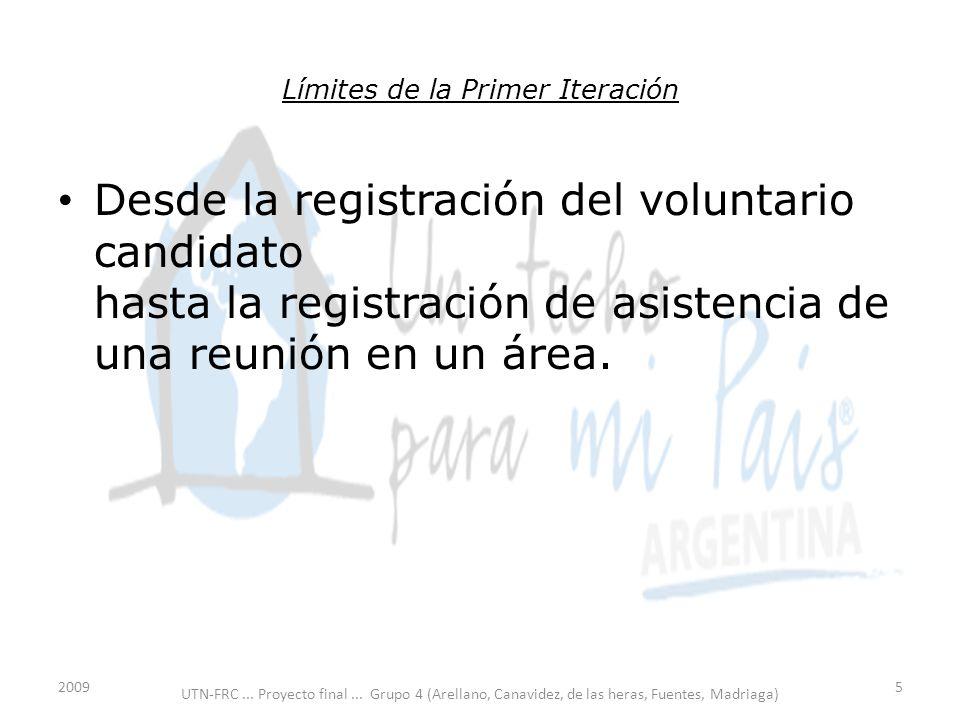Límites de la Primer Iteración Desde la registración del voluntario candidato hasta la registración de asistencia de una reunión en un área.