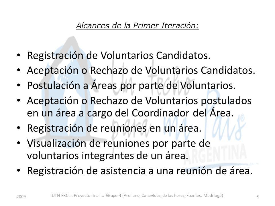 Alcances de la Primer Iteración: Registración de Voluntarios Candidatos.