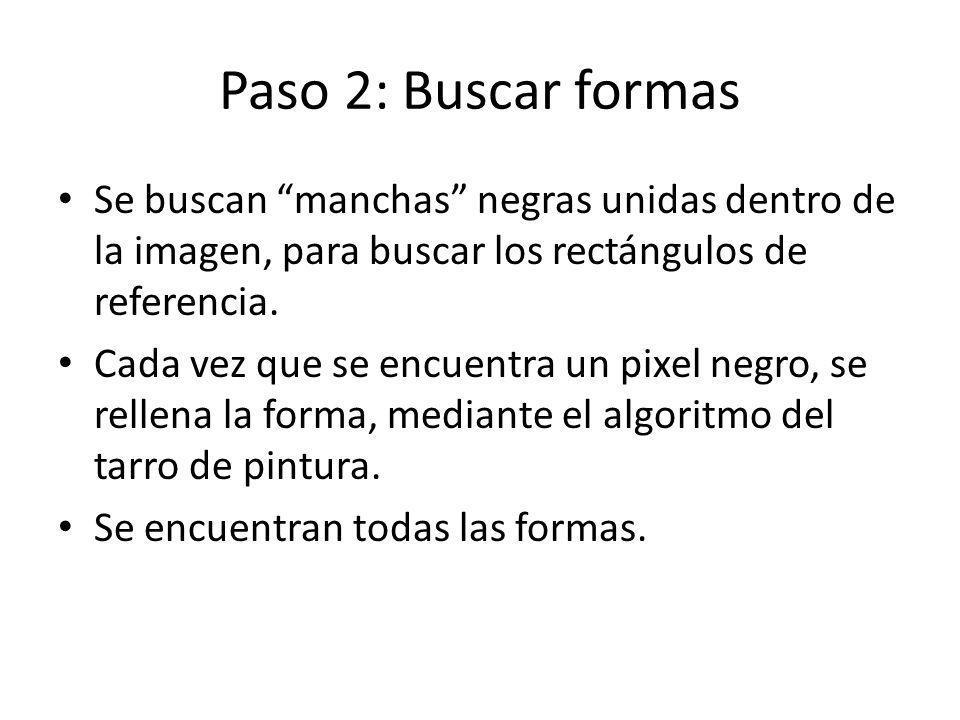 Paso 2: Buscar formas Se buscan manchas negras unidas dentro de la imagen, para buscar los rectángulos de referencia.