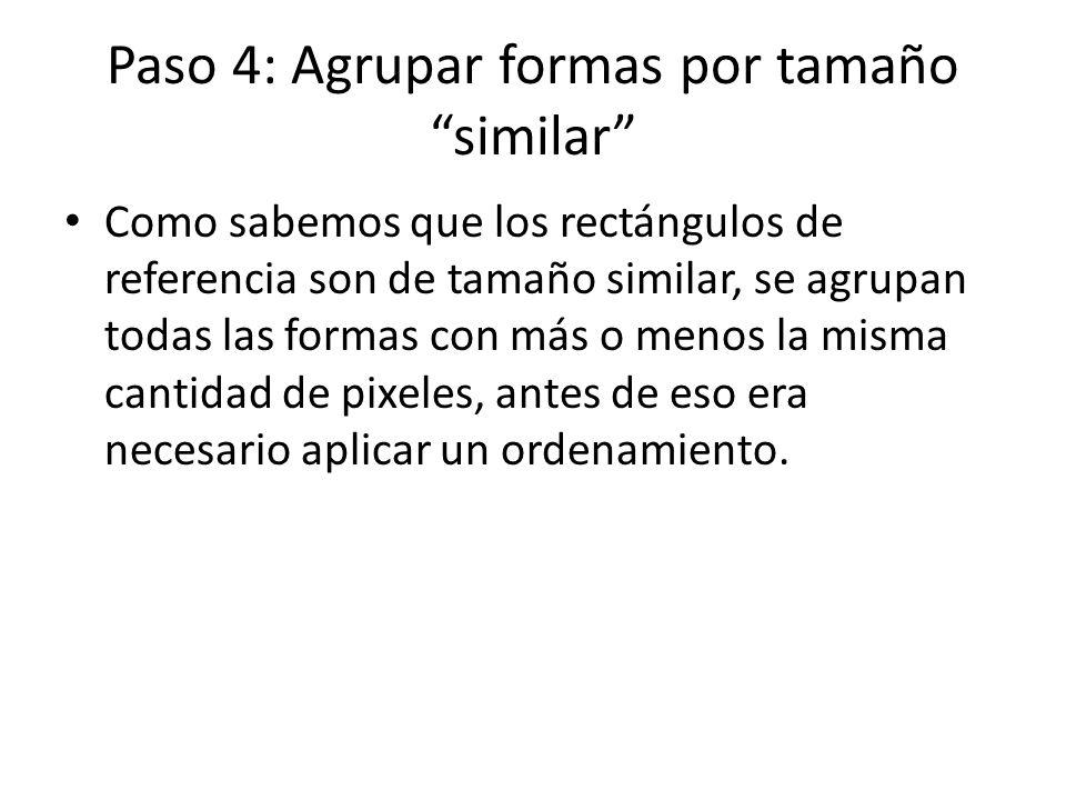 Paso 4: Agrupar formas por tamaño similar Como sabemos que los rectángulos de referencia son de tamaño similar, se agrupan todas las formas con más o menos la misma cantidad de pixeles, antes de eso era necesario aplicar un ordenamiento.