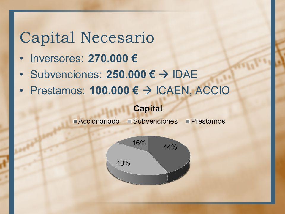 Capital Necesario Inversores: 270.000 Subvenciones: 250.000 IDAE Prestamos: 100.000 ICAEN, ACCIO