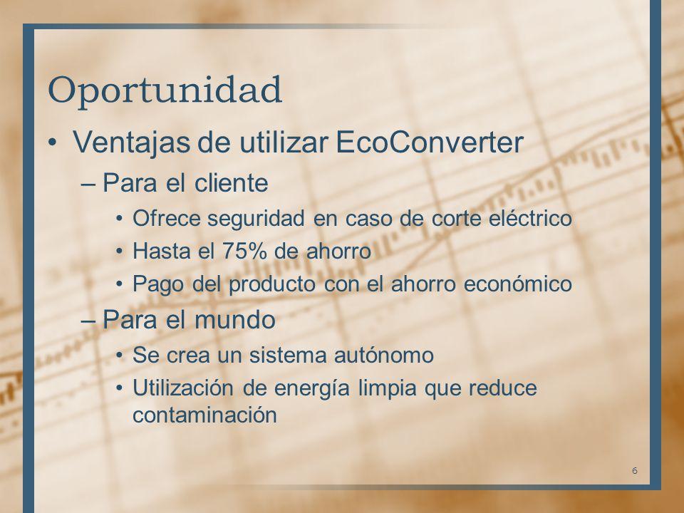 Oportunidad Ventajas de utilizar EcoConverter –Para el cliente Ofrece seguridad en caso de corte eléctrico Hasta el 75% de ahorro Pago del producto co