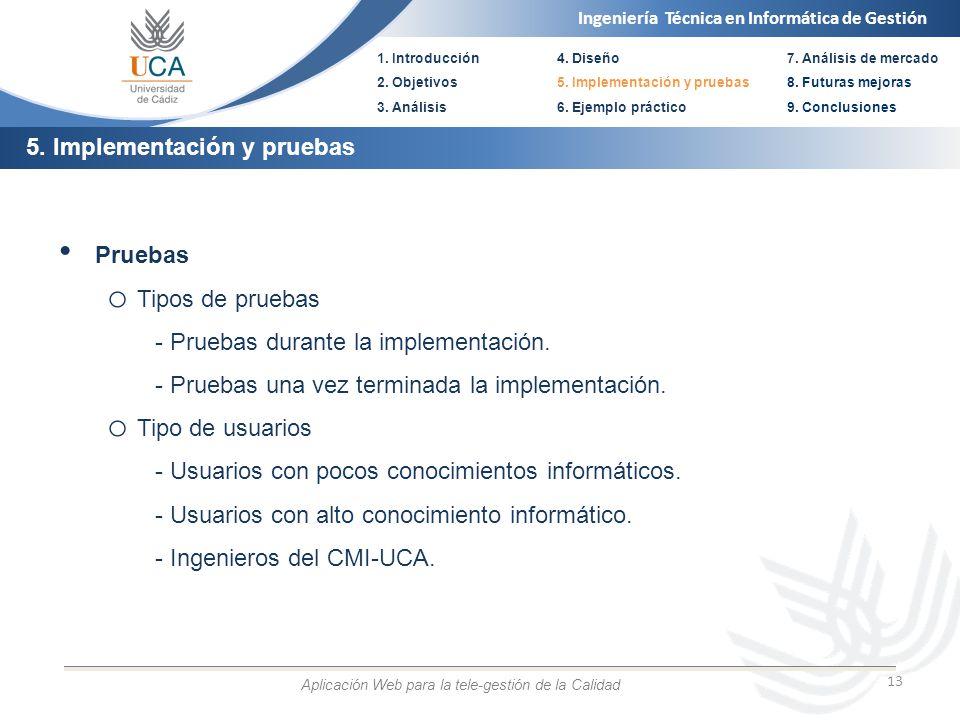 Ingeniería Técnica en Informática de Gestión 1. Introducción 2. Objetivos 3. Análisis 4. Diseño 5. Implementación y pruebas 6. Ejemplo práctico 13 Pru
