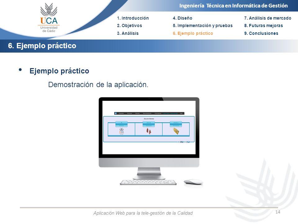 Ingeniería Técnica en Informática de Gestión 1. Introducción 2. Objetivos 3. Análisis 4. Diseño 5. Implementación y pruebas 6. Ejemplo práctico 14 Eje