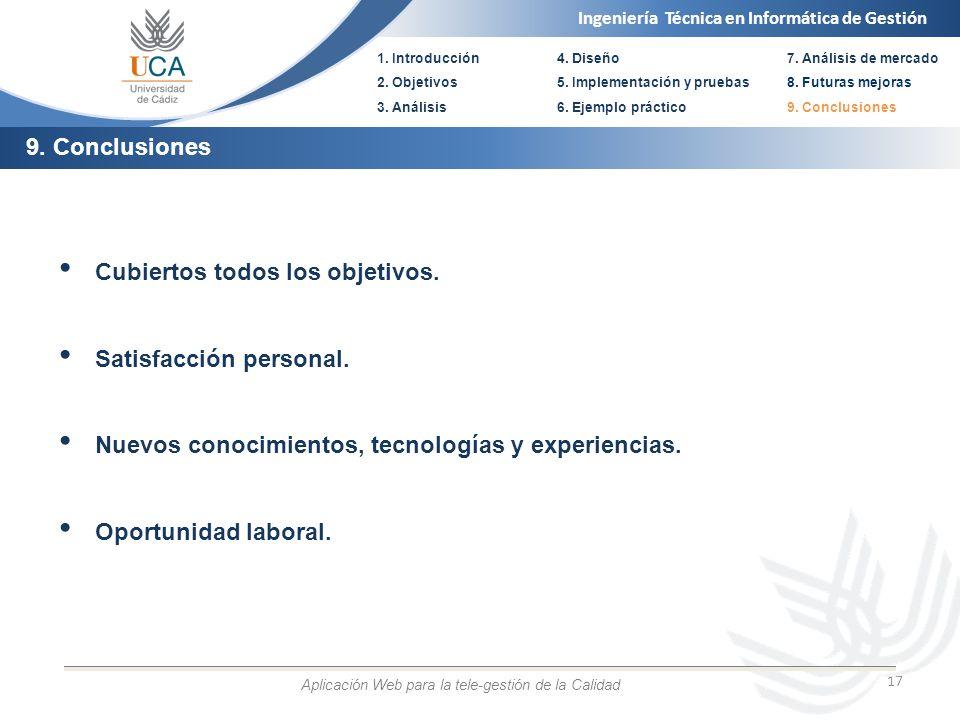 Ingeniería Técnica en Informática de Gestión 1. Introducción 2. Objetivos 3. Análisis 4. Diseño 5. Implementación y pruebas 6. Ejemplo práctico 17 Cub