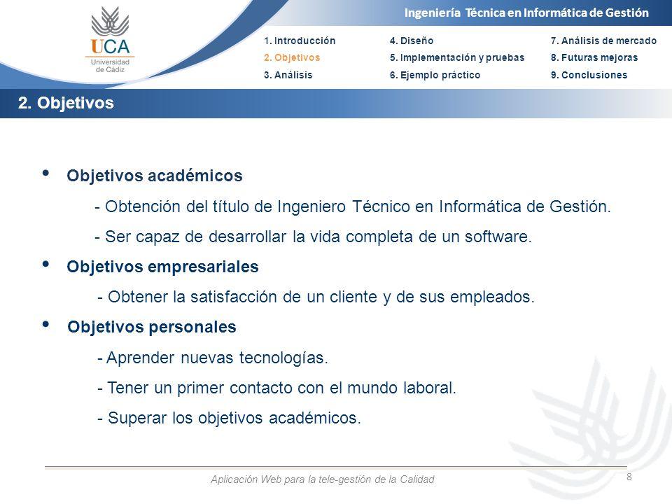 Ingeniería Técnica en Informática de Gestión 1. Introducción 2. Objetivos 3. Análisis 4. Diseño 5. Implementación y pruebas 6. Ejemplo práctico 8 Obje