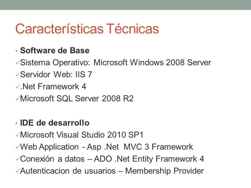 Características Técnicas Software de Base Sistema Operativo: Microsoft Windows 2008 Server Servidor Web: IIS 7.Net Framework 4 Microsoft SQL Server 20