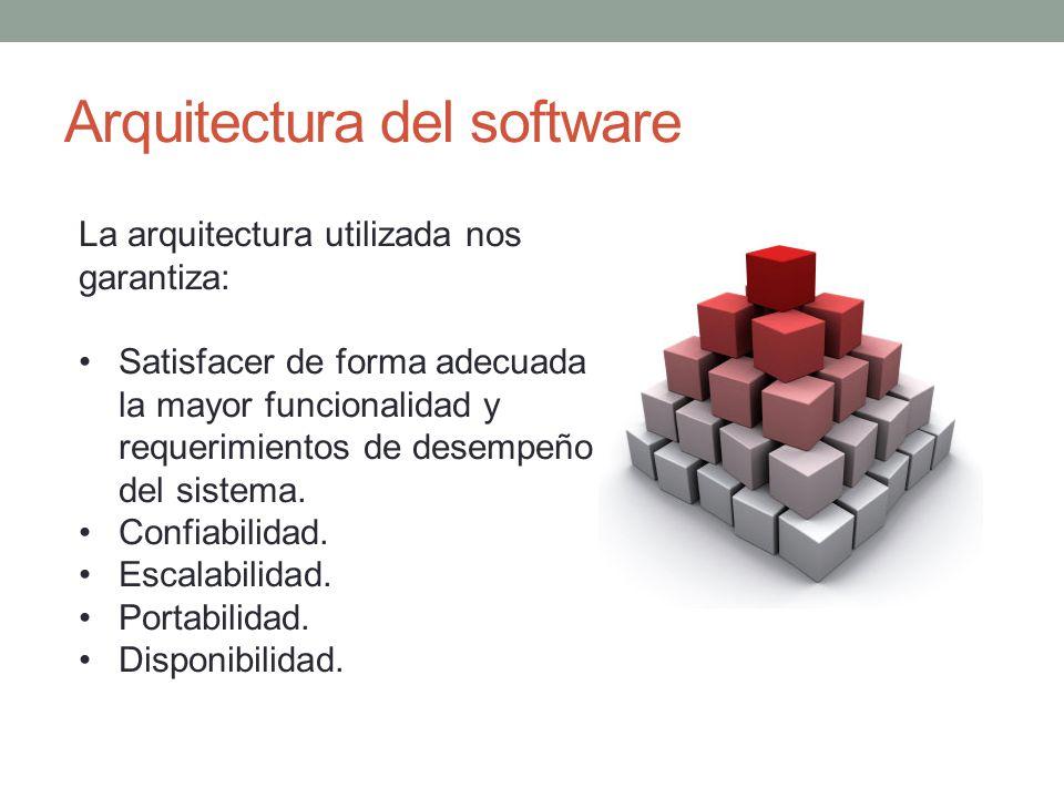Arquitectura del software La arquitectura utilizada nos garantiza: Satisfacer de forma adecuada la mayor funcionalidad y requerimientos de desempeño d