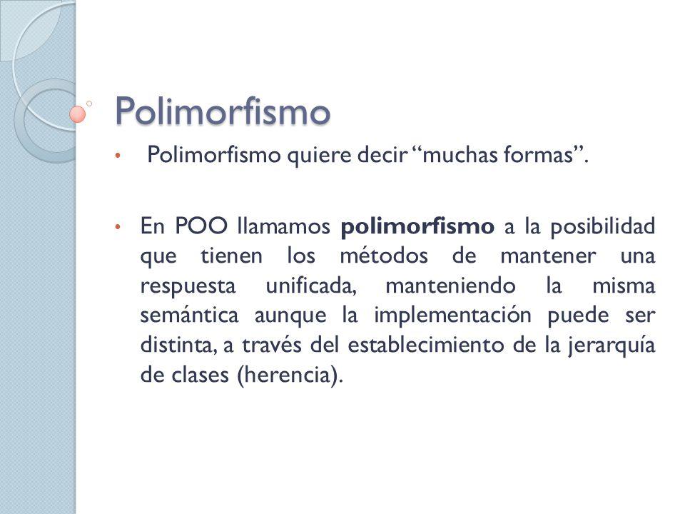 Polimorfismo Polimorfismo quiere decir muchas formas.
