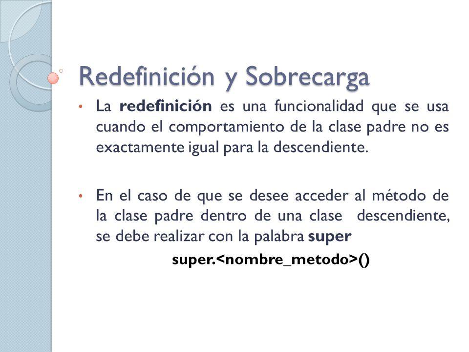 La redefinición es una funcionalidad que se usa cuando el comportamiento de la clase padre no es exactamente igual para la descendiente.
