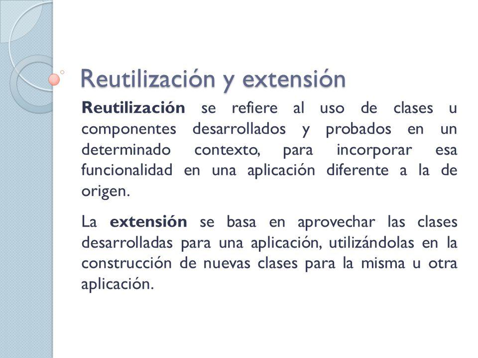 Reutilización y extensión Reutilización se refiere al uso de clases u componentes desarrollados y probados en un determinado contexto, para incorporar esa funcionalidad en una aplicación diferente a la de origen.