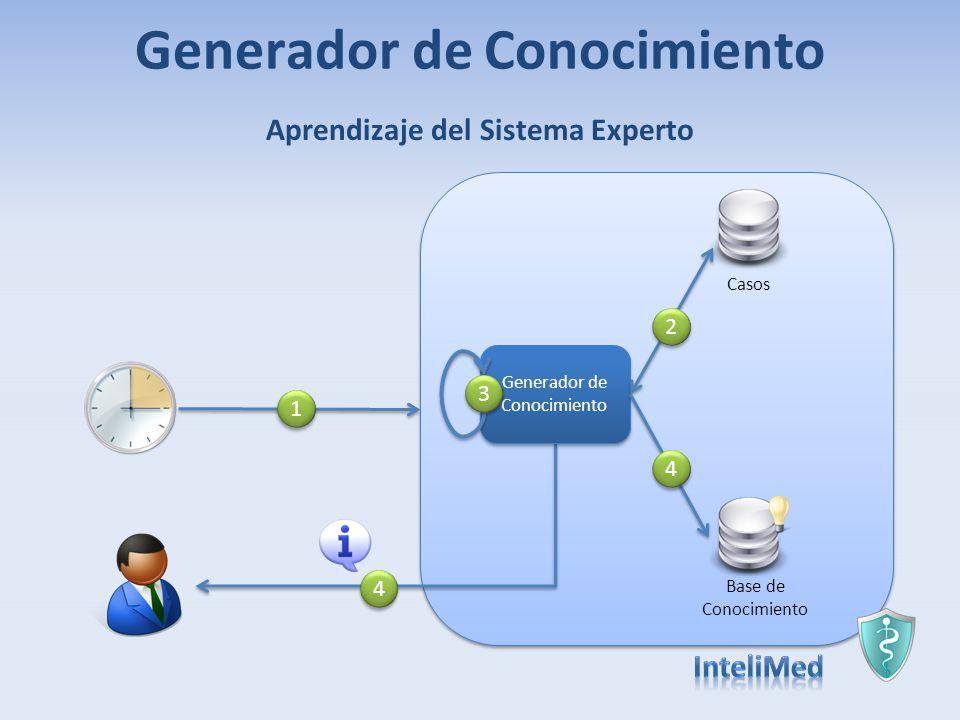 Generador de Conocimiento Base de Conocimiento Casos Generador de Conocimiento 3 3 1 1 2 2 4 4 Aprendizaje del Sistema Experto 4 4