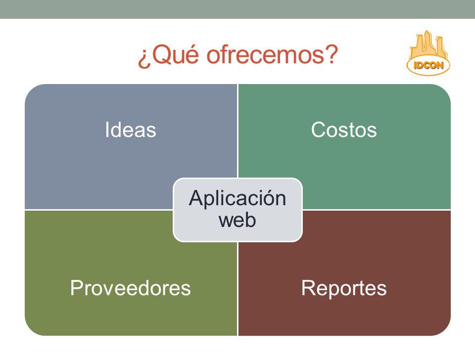 ¿Qué ofrecemos? IdeasCostos ProveedoresReportes Aplicación web