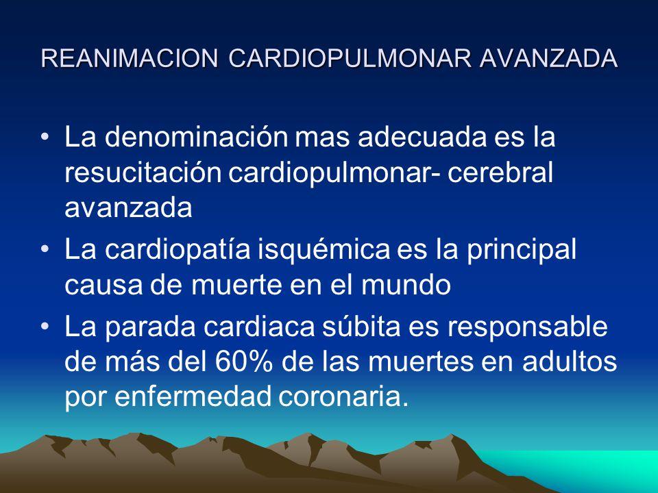 REANIMACION CARDIOPULMONAR AVANZADA La muerte súbita provoca en USA alrededor de 350,000 muertes por año Las enfermedades cardiovasculares en el Perú son la primera causa de muerte en los adultos